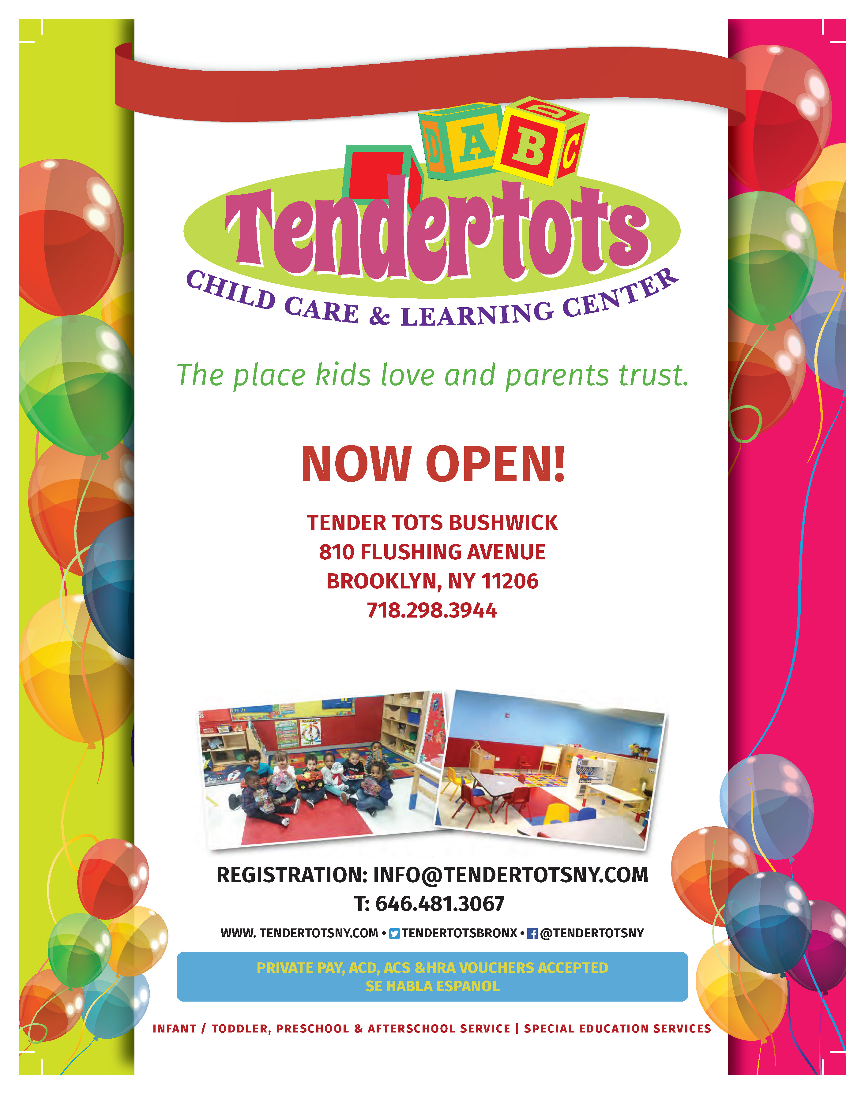 tender tots child care learning center bushwick willamsburg flyer bushwick